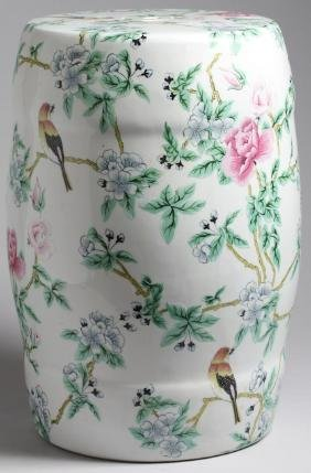 Vintage Hand-Painted Chinese Porcelain Garden Seat