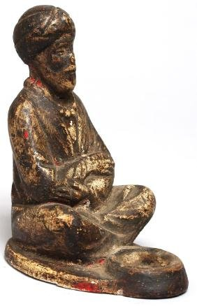 Painted Plaster Figure of Turbaned Beggar
