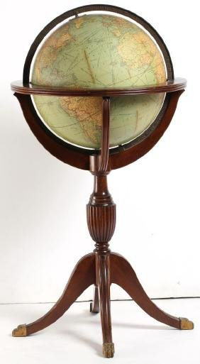 1920s Replogle Standing Terrestrial Library Globe