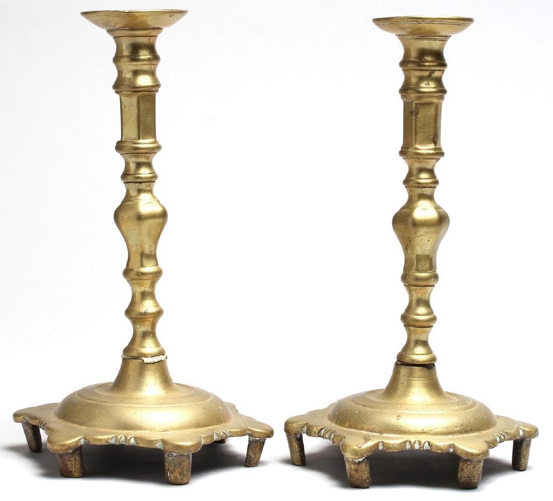 Pair of Antique Indian Brass Candlesticks
