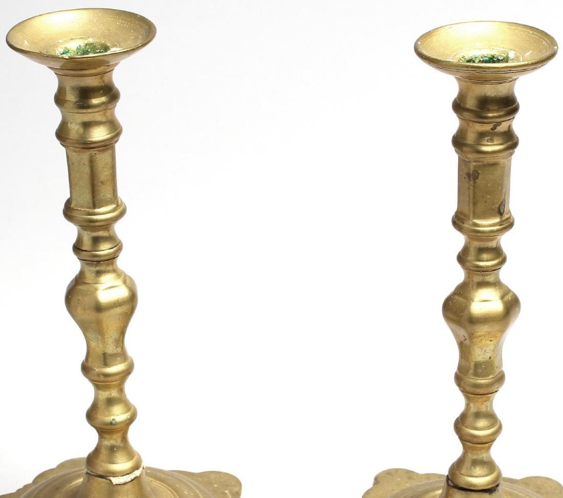 Pair of Antique Indian Brass Candlesticks - 2