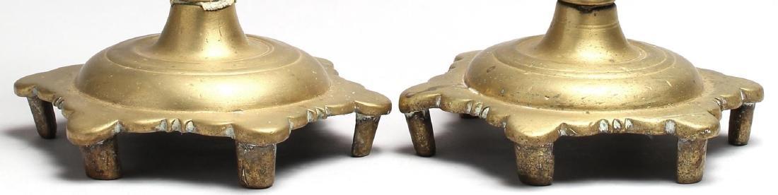 Pair of Antique Indian Brass Candlesticks - 3