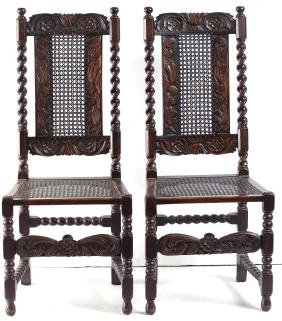 Pair of Carved Oak Jacobean Revival Side Chairs