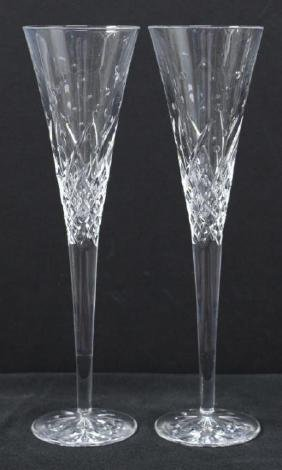 "Pair Waterford ""Happy Celebration"" Toasting Flutes"