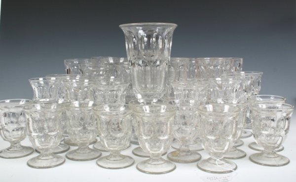 1: Set of 37 Cut Flint Glasses 12 Each Water Brandy & W