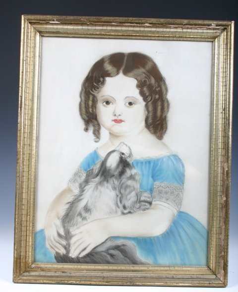 5: Victorian Pastel Drawing of a Little Girl and Dog