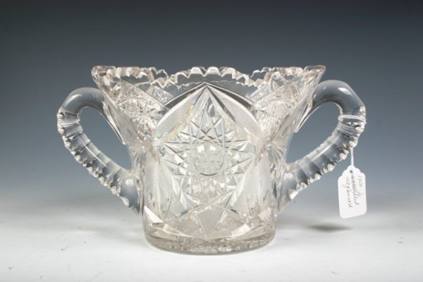 7: Large Two-Handled Cut Glass Vase with Excellent Deta