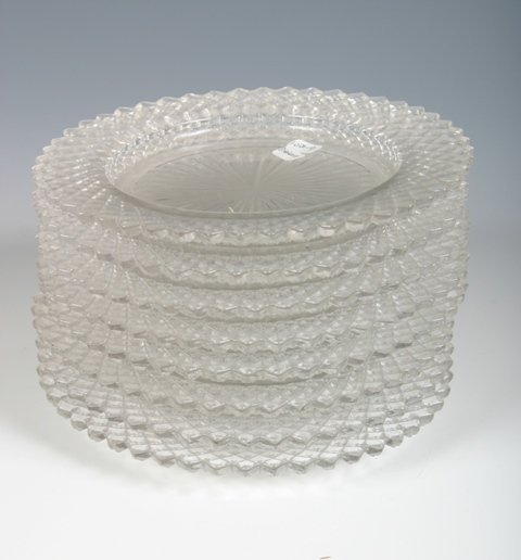 9: Set of 8 Cut Glass Saucers c1920s