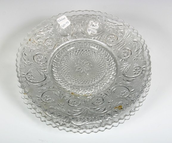 10: Set of 4 Pressed Glass Saucers c1920s