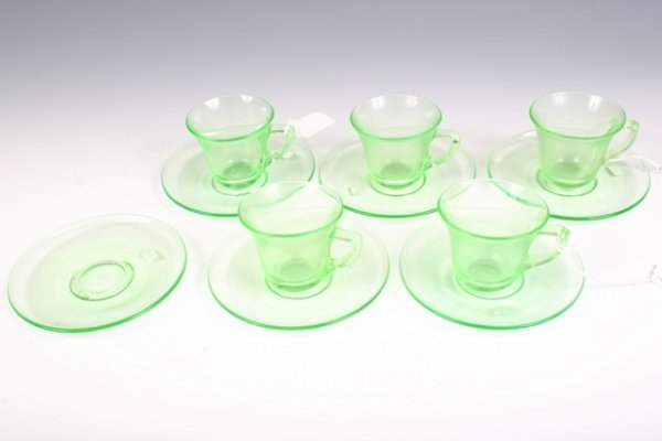 12: Set of 5 Green Glass Espresso Cups & Saucers