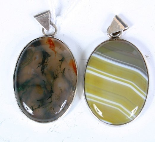 13: 2 Continental Silver & Agate Pendant/Medallions