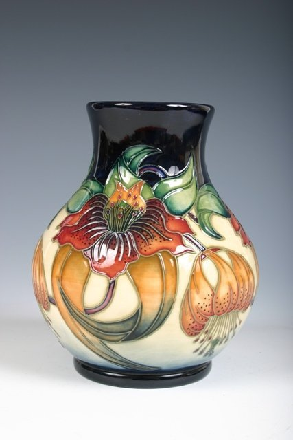 22: Moorcroft Vase with Ornate Floral Decorations c1998