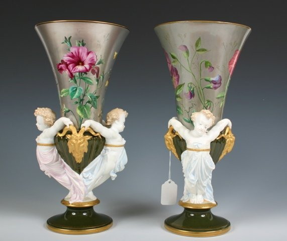 25: Pair Porcelain Urns with Painted Floral Decoration
