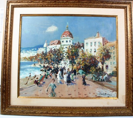 259: Italian Merio Ameglio Oil on Canvas Beach Scene