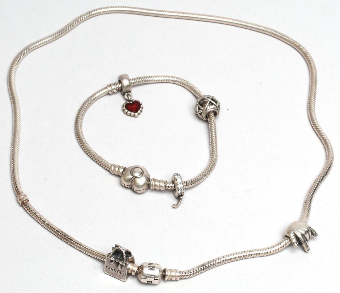 Pandora Sterling Silver Charm Necklace & Bracelet