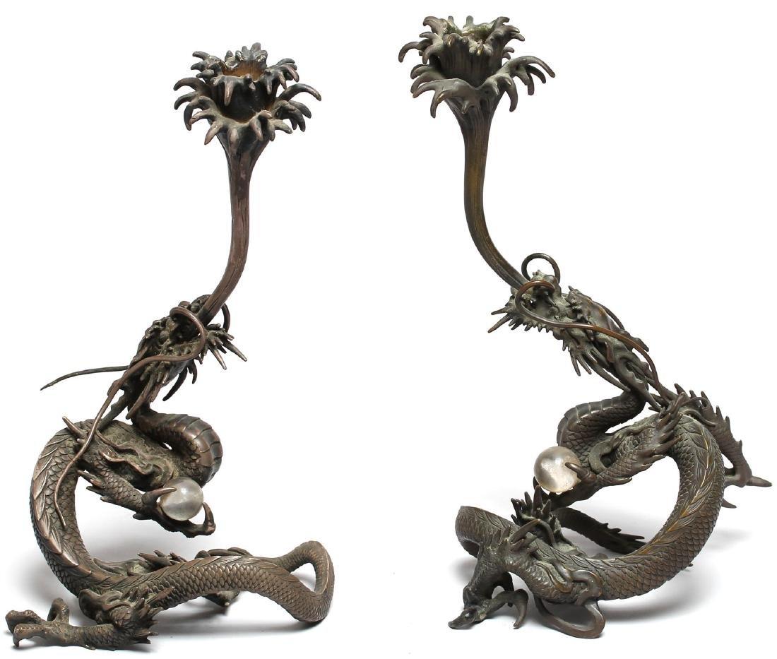 Pair of Chinese Bronze Dragon Candlesticks