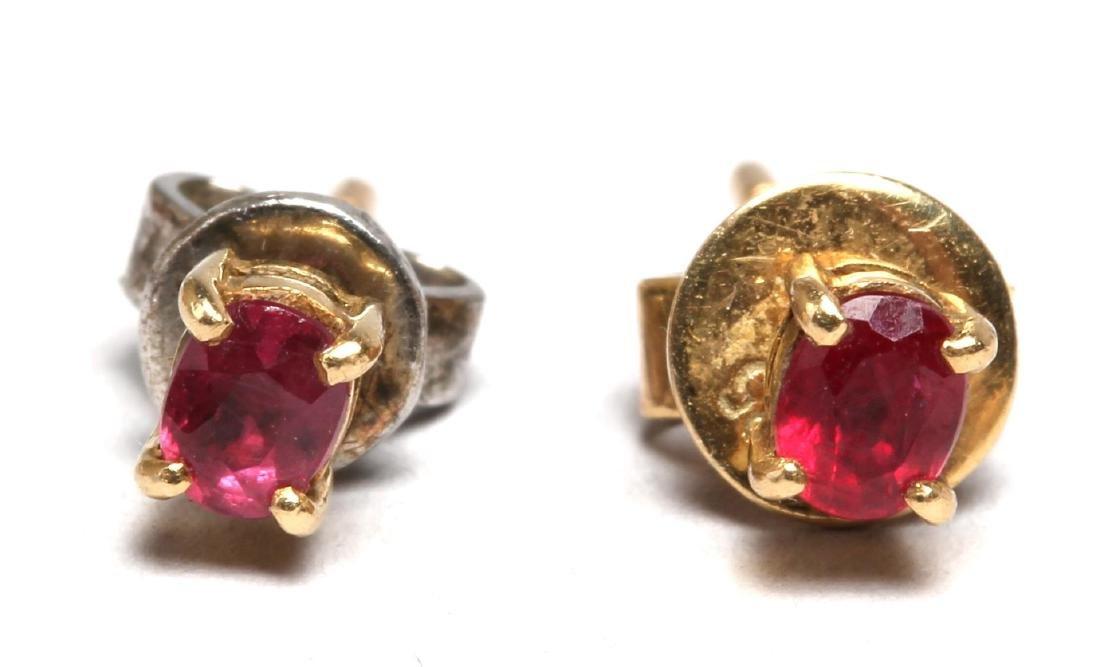 Pair of Ruby & 14K Gold Stud Earrings