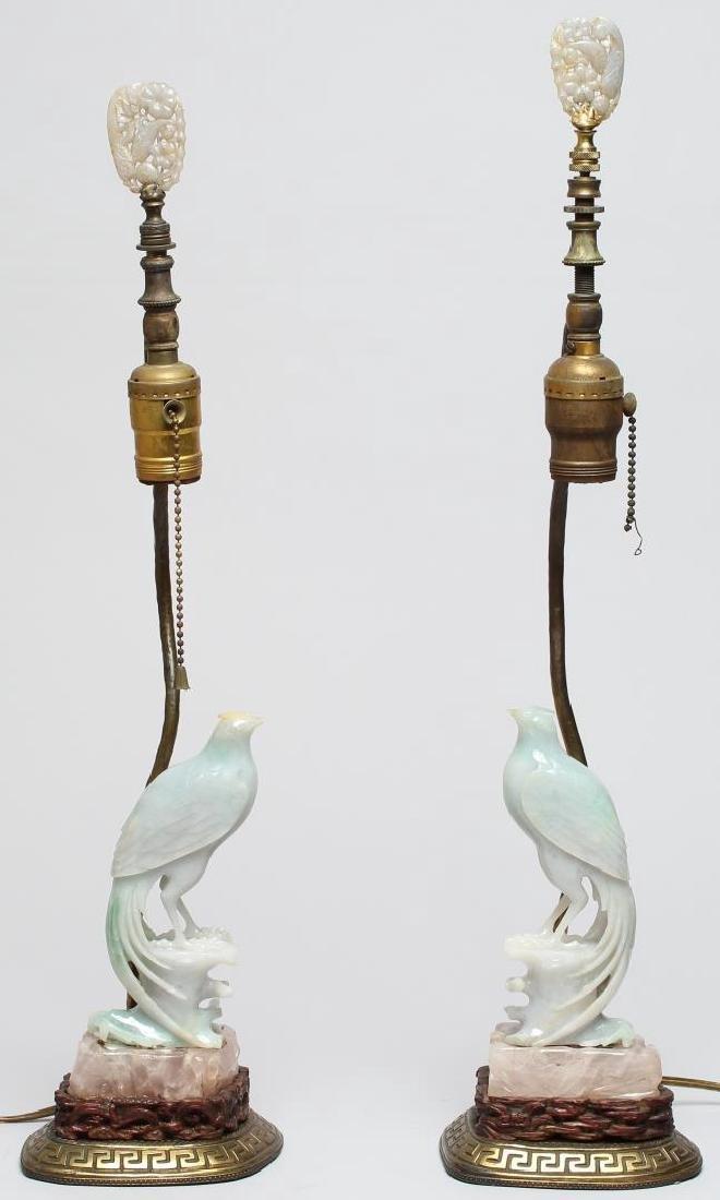 Pair of Chinese Figural Jade Bird Lamps
