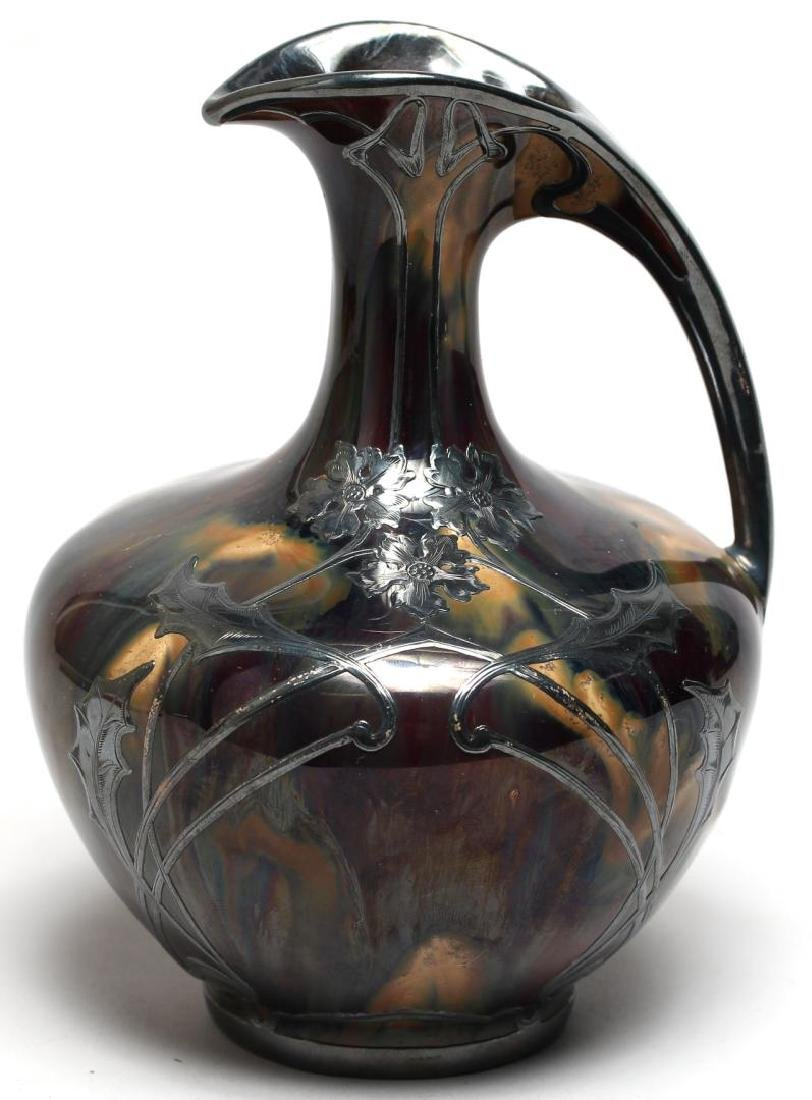Art Nouveau Glazed Porcelain & Silver Overlay Ewer