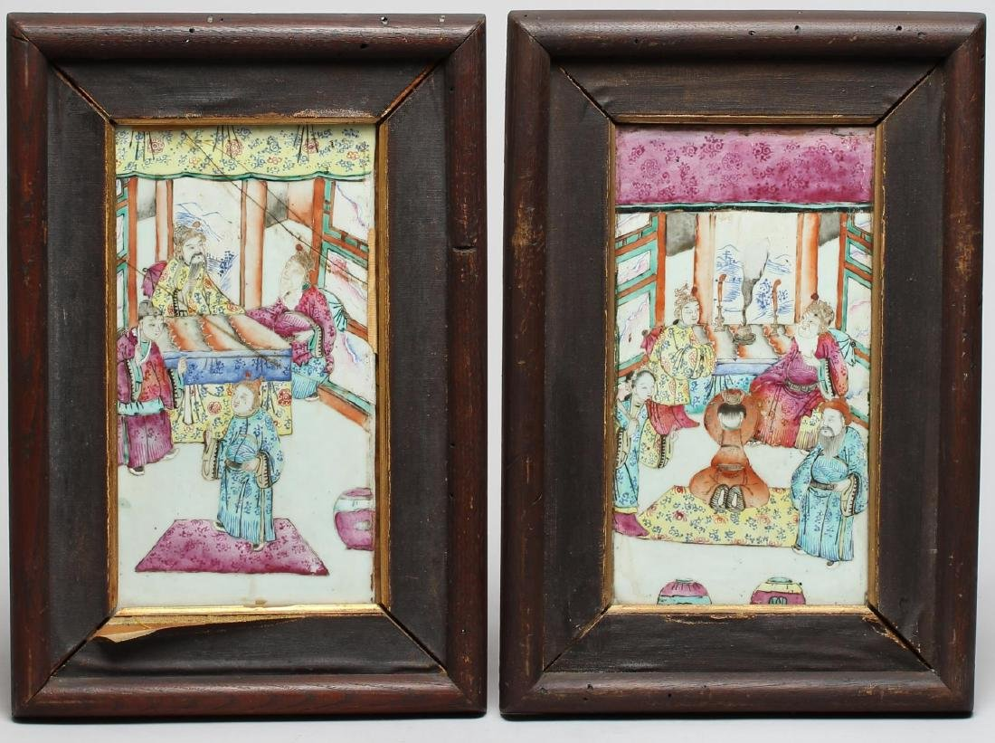 Pair Antique Chinese Famille Rose Painted Plaques