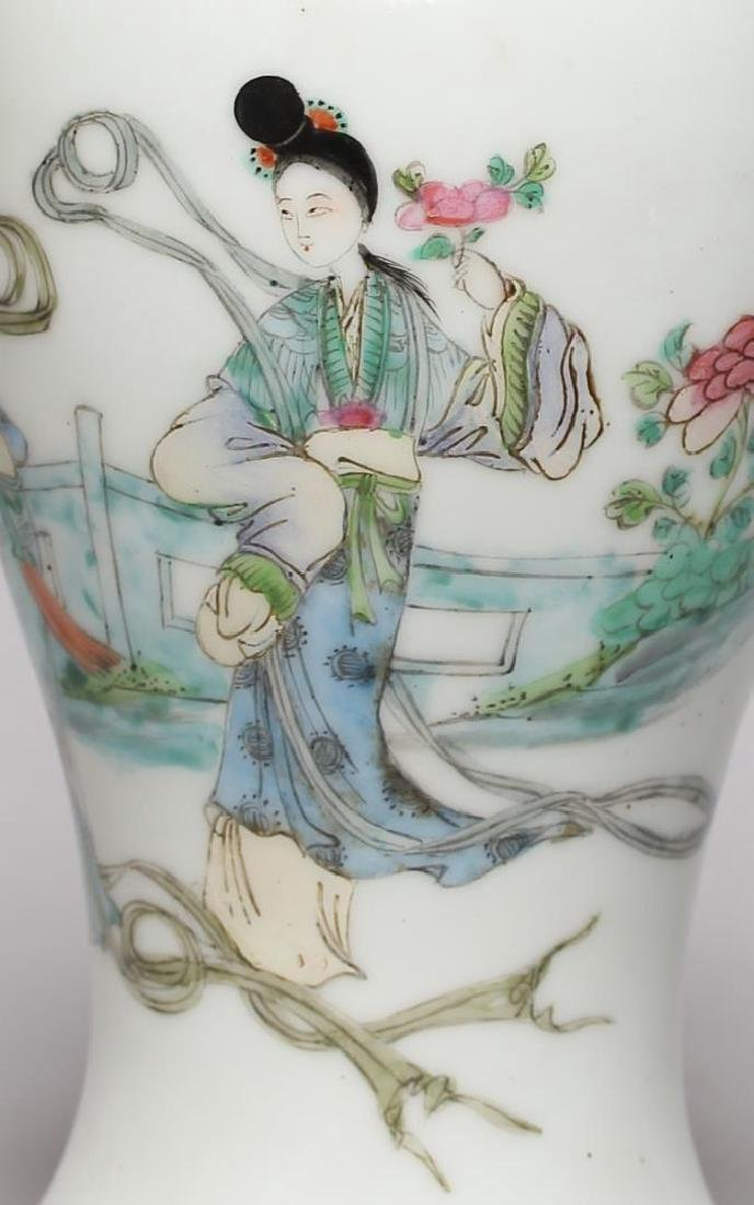 Small Chinese Hand-Painted Baluster Vase - 2