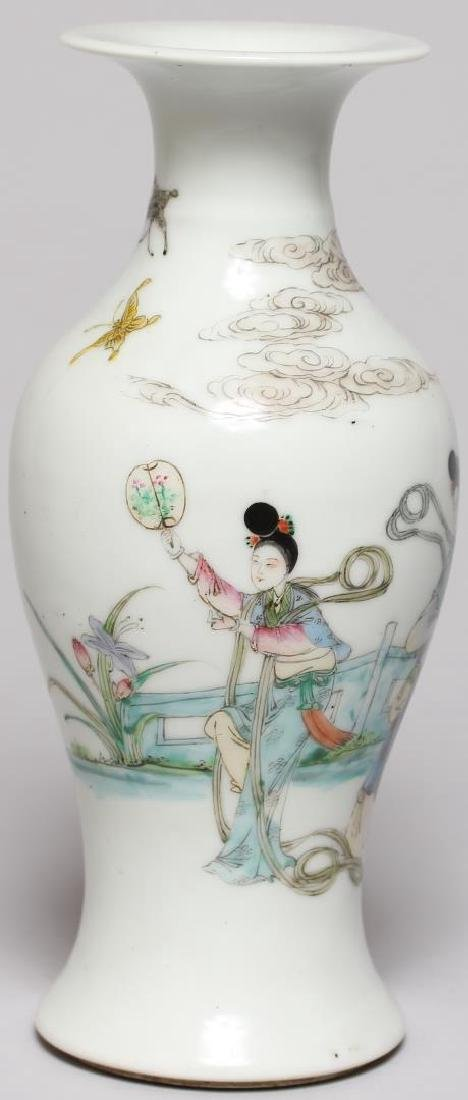 Small Chinese Hand-Painted Baluster Vase - 3
