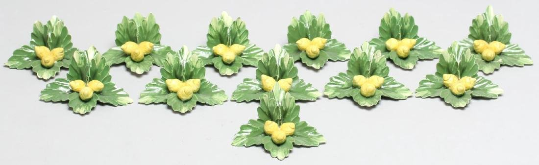 12 Capodimonte Lemon & Leaves Place Card Holders