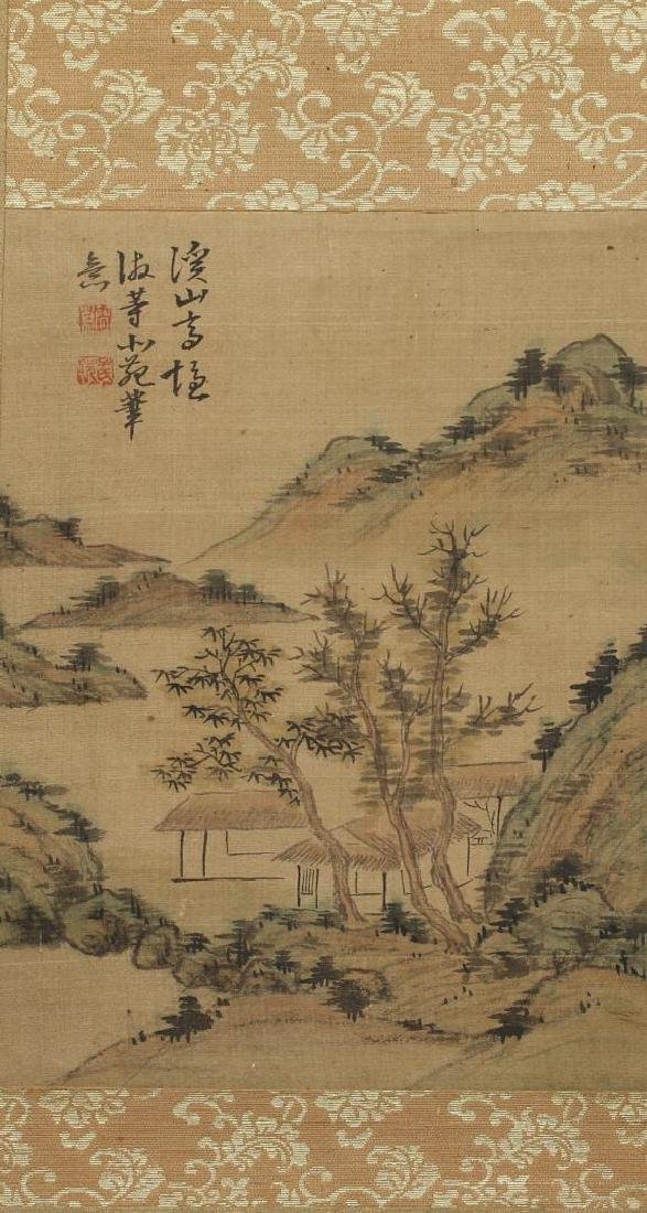 Chinese Inks on Silk Hanging Scroll Painting