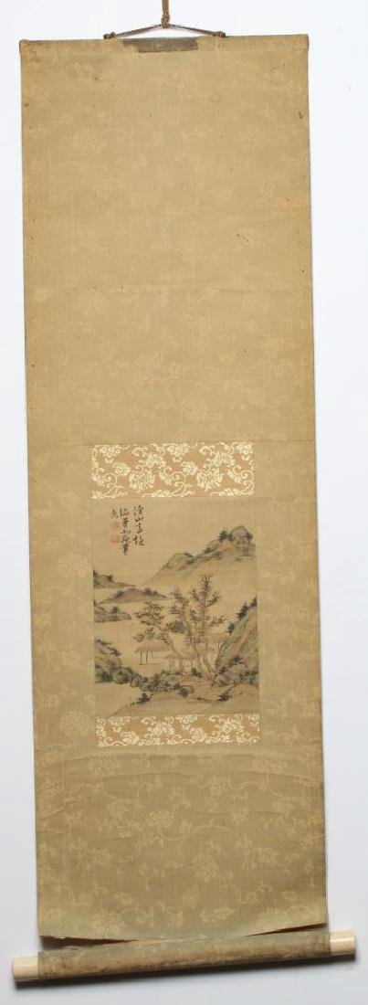 Chinese Inks on Silk Hanging Scroll Painting - 2