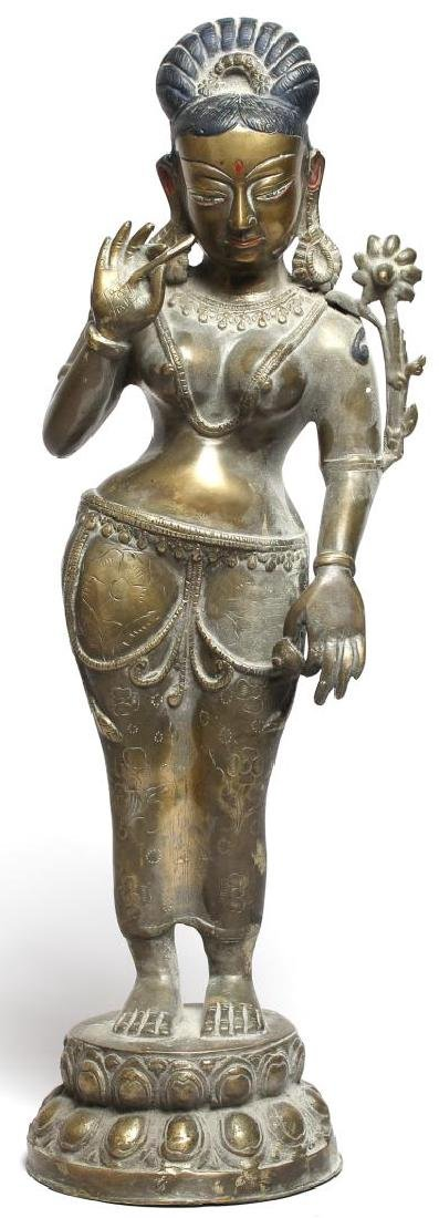 Silver-Tone Figure of Parvati, Chola Period-Style