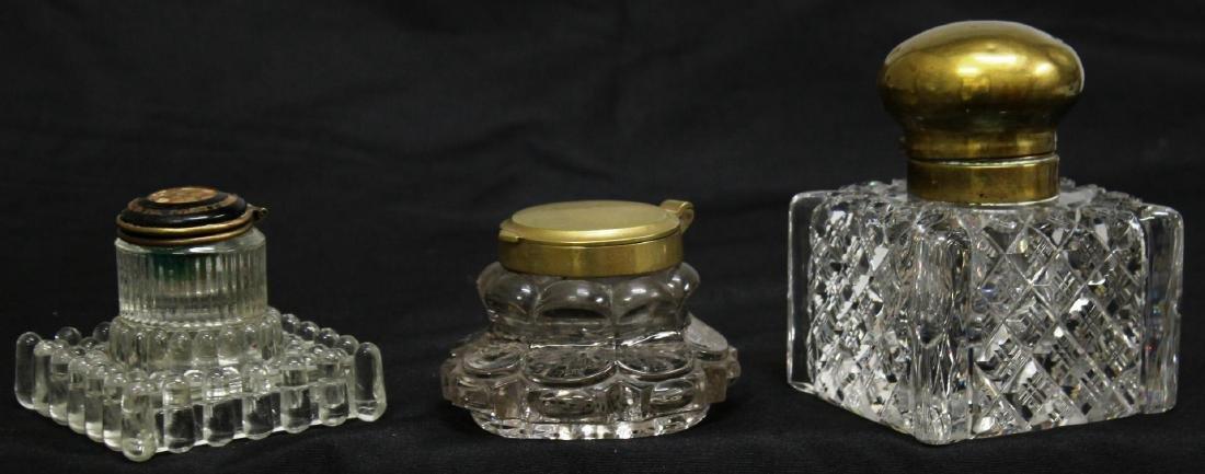 3 Vintage Cut or Pressed Glass Inkwells