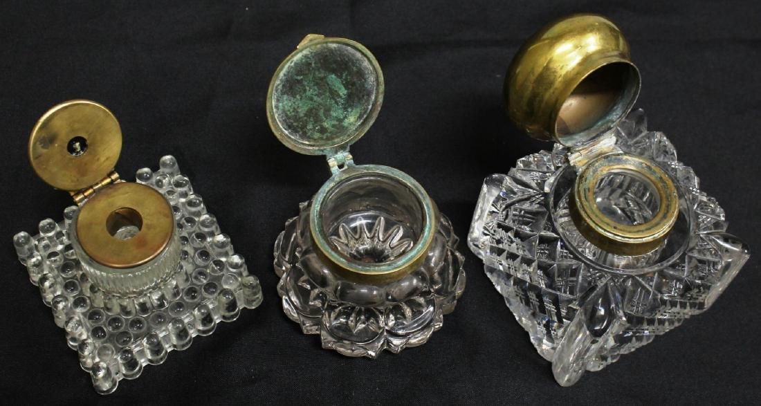 3 Vintage Cut or Pressed Glass Inkwells - 2