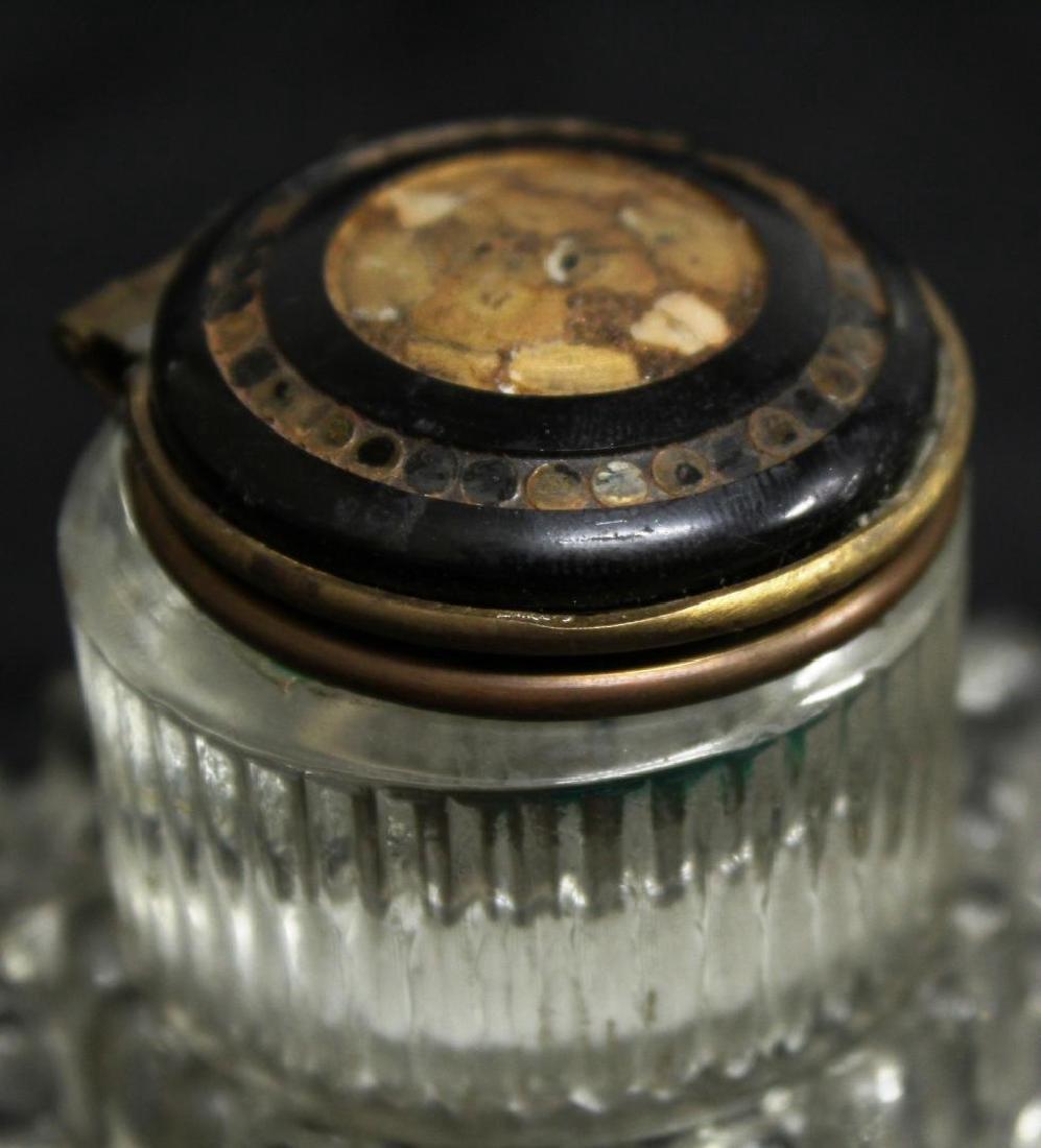 3 Vintage Cut or Pressed Glass Inkwells - 3