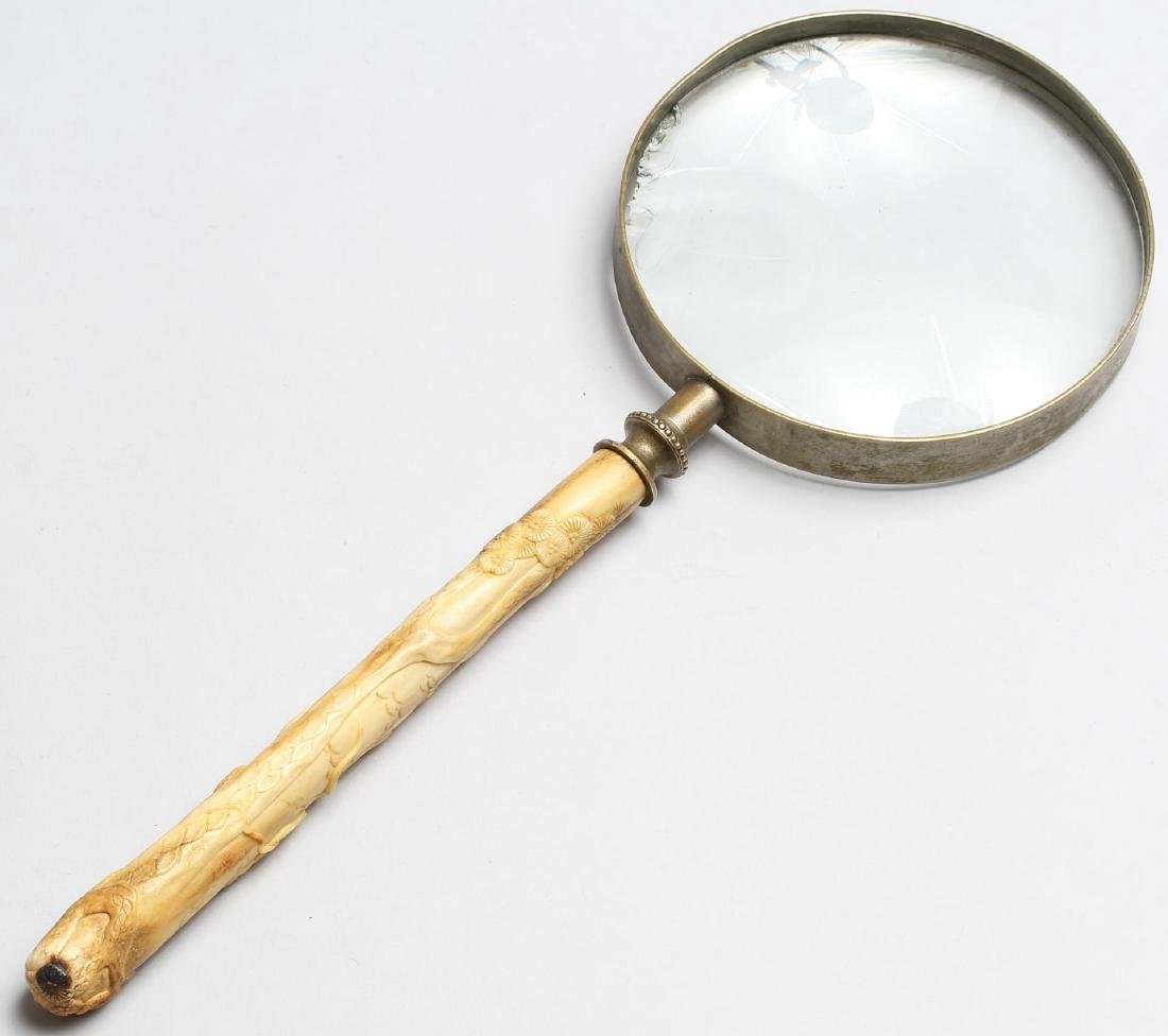 Chinese Carved Bone-Handled Magnifying Glass
