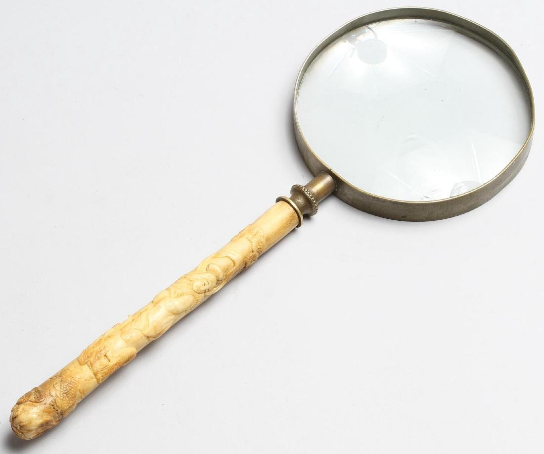 Chinese Carved Bone-Handled Magnifying Glass - 2