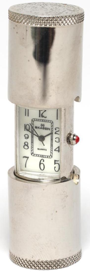 "Vintage Skagen Quartz ""Lipstick Tube"" Travel Clock"