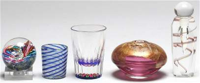 5 Pieces of Small Continental & American Art Glass
