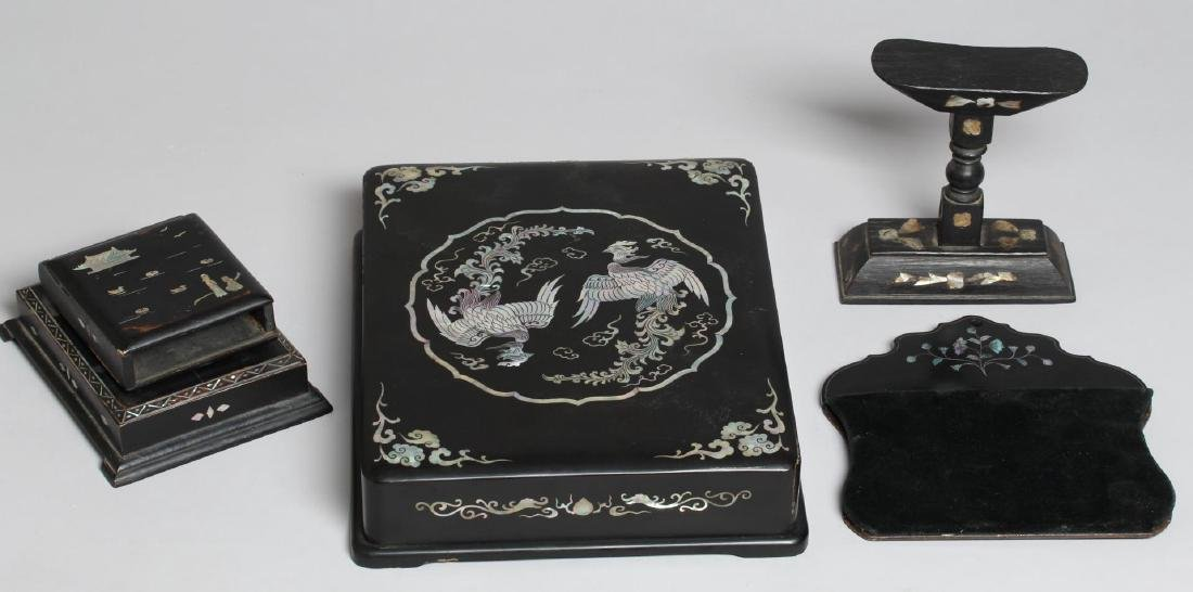 3 Asian Black Lacquer & Mother-of-Pearl Items
