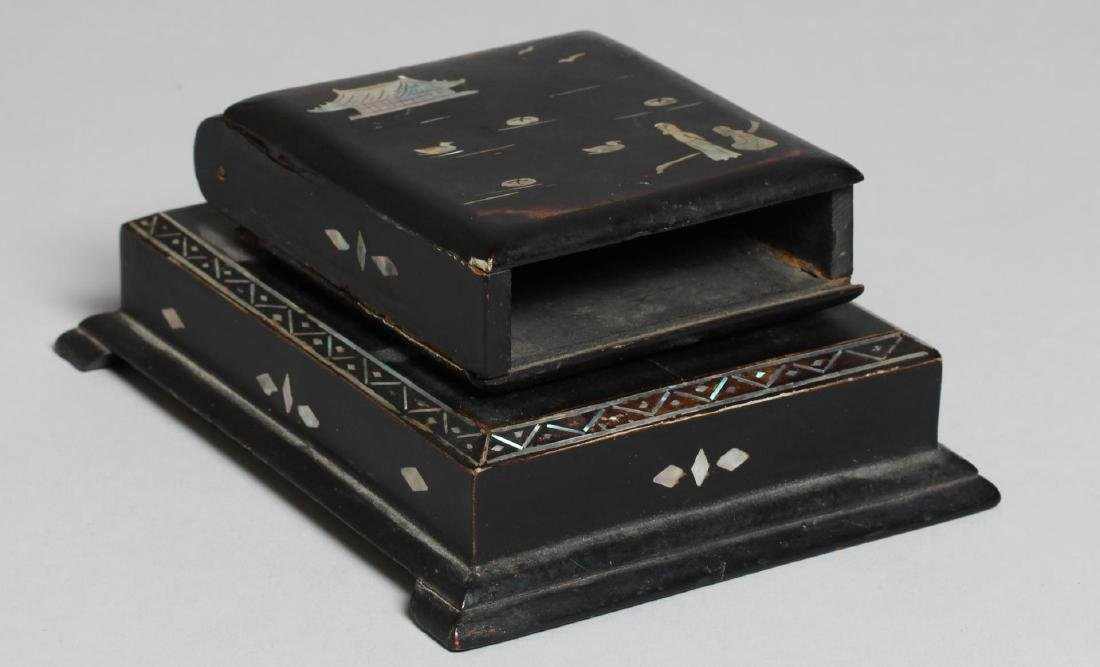 3 Asian Black Lacquer & Mother-of-Pearl Items - 2
