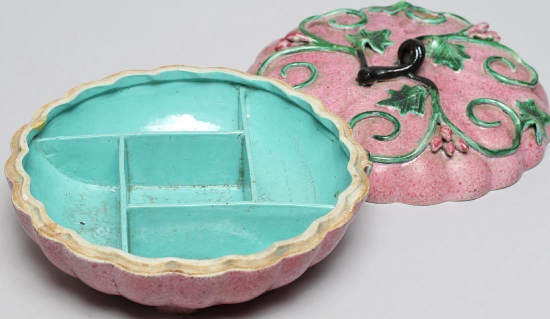 Chinese Glazed Porcelain Pumpkin Jewel Box - 2