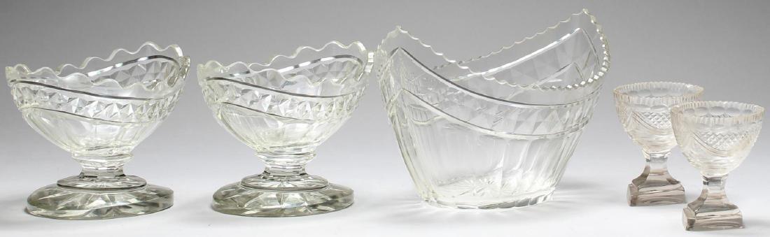5 Vintage Colorless Cut Glass Serving Pieces