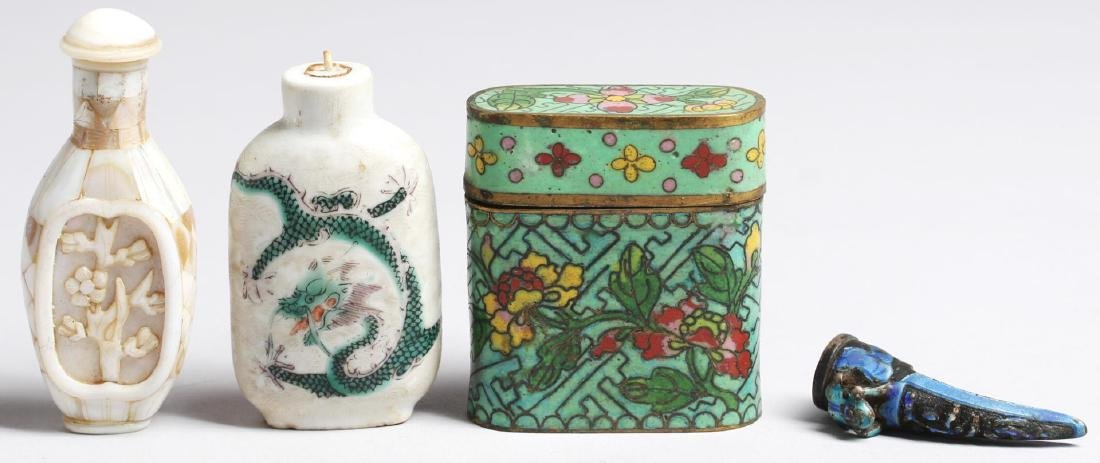 4 Vintage Chinese Items, Including Snuff Bottles