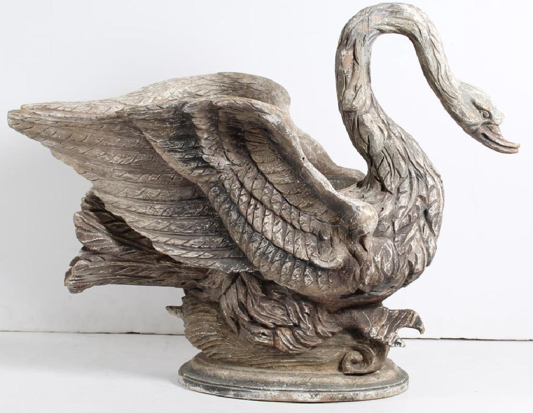 Large Hand-Carved & Painted Wood Swan Planter