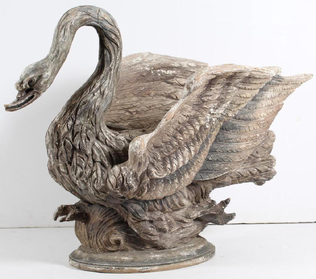Large Hand-Carved & Painted Wood Swan Planter - 3