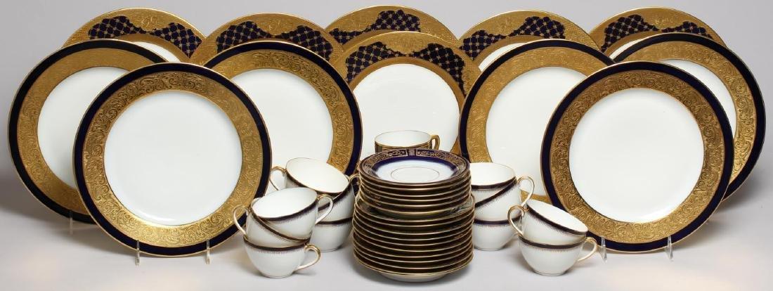 Vintage Continental Blue, White & Gold Dinnerware