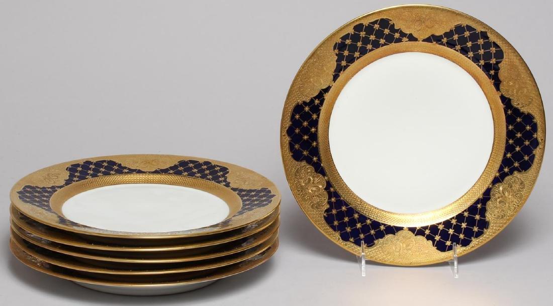 Vintage Continental Blue, White & Gold Dinnerware - 3