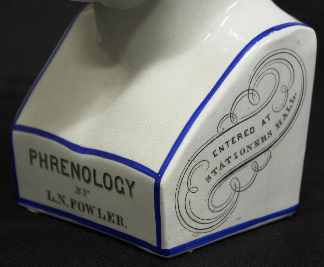 Replica 19th C. English Porcelain Phrenology Head - 2