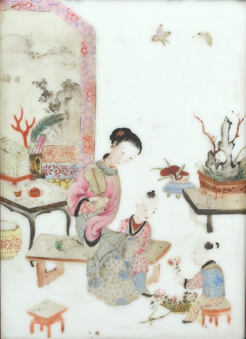 Antique Chinese Painted Porcelain Plaque - 2