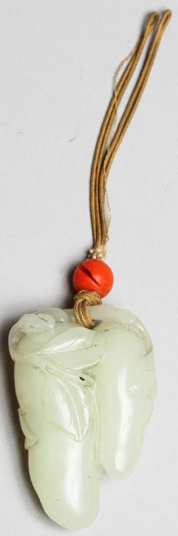 Chinese White Jade Double-Melon Pendant