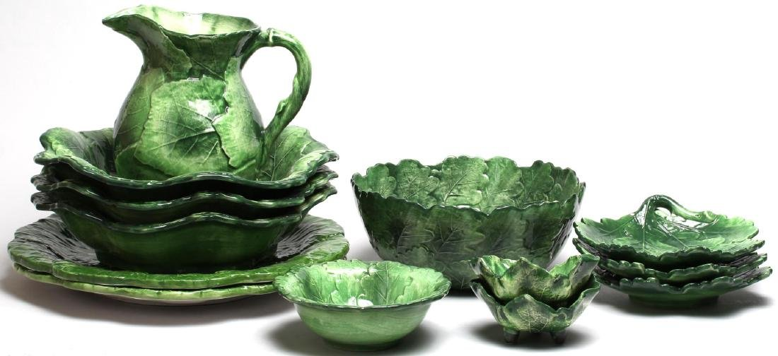 "Group of Vietri Italian ""Oak Leaf"" Ceramic Ware"